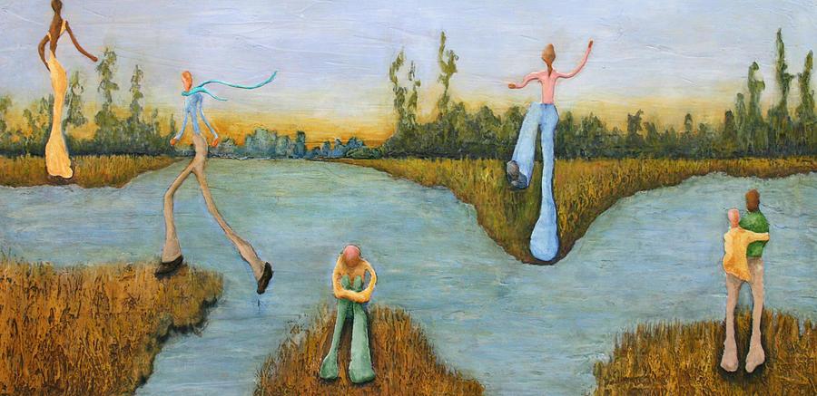 Figures Painting - Leap Of Faith by Linda Carmel