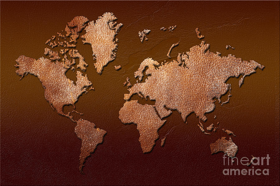 Leather World Map Digital Art  - Leather World Map Fine Art Print