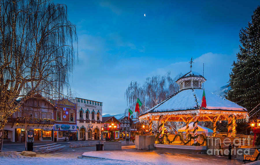 Leavenworth Christmas Moon Photograph  - Leavenworth Christmas Moon Fine Art Print