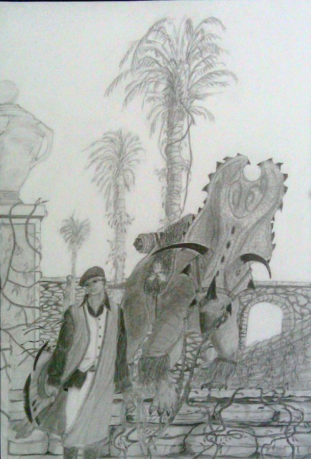 Fantasy Drawing - Leaving Gamorra by George Harrison