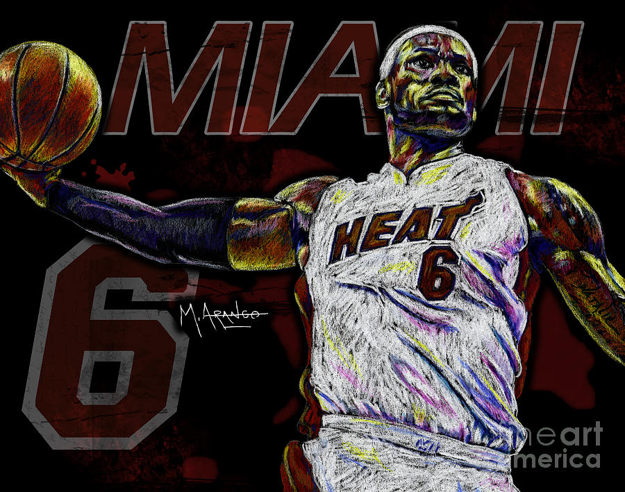 Lebron Drawing - Lebron James by Maria Arango