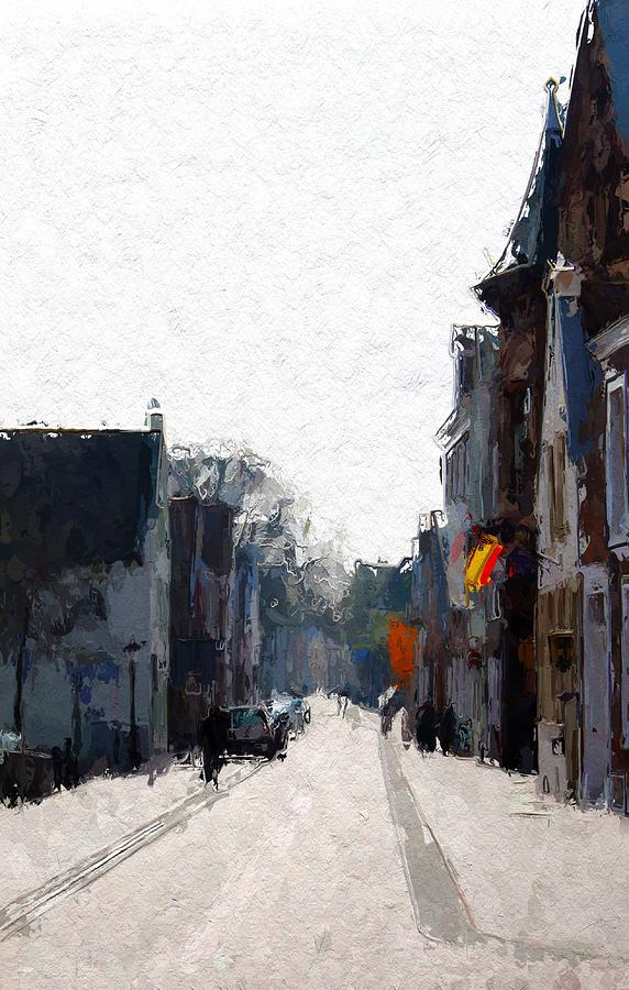 Leer Ostfriesland Altstadt Town City Street Landscape Cityscape Old Houses Expressionism Impressionism Germany Flag Urban Life  Painting - Leer Altstadt by Stefan Kuhn