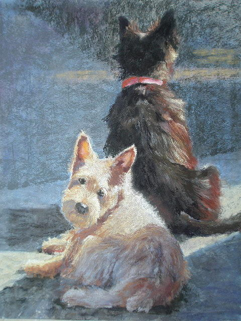 Dogs Pastel - Left Behind by Janice Harris