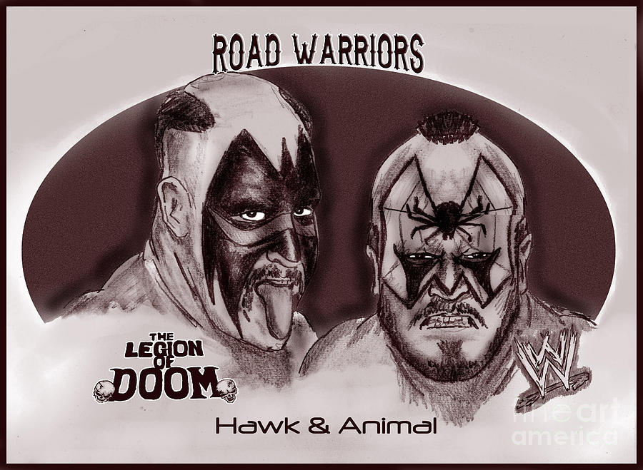 Road Warriors Drawing - Legion Of Doom- The Road Warriors by Chris  DelVecchio