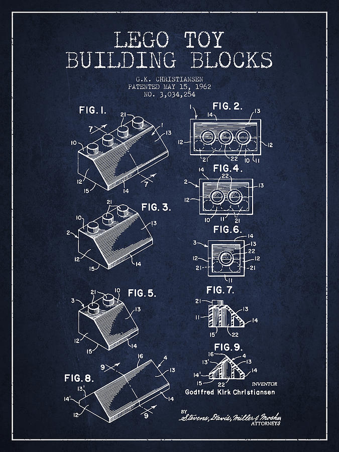 Lego Toy Building Blocks Patent - Navy Blue Drawing
