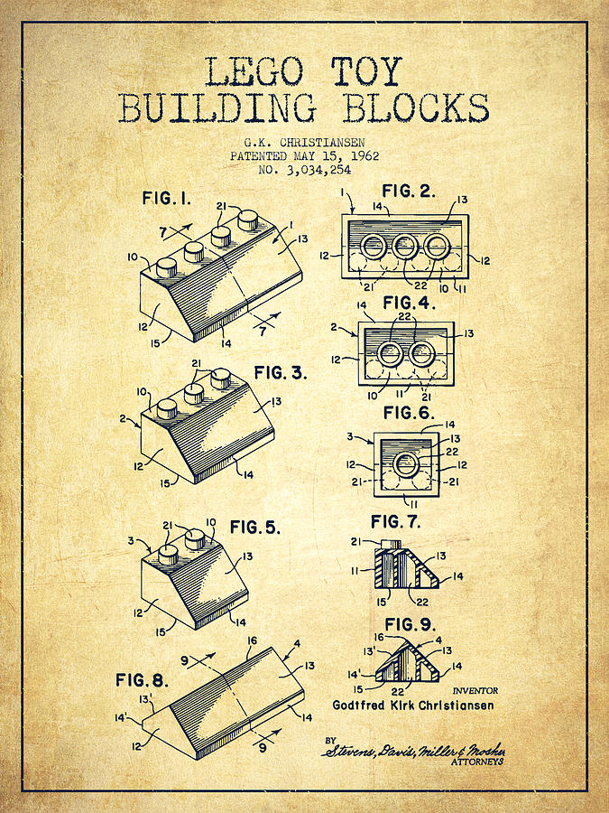 Lego Toy Building Blocks Patent - Vintage Drawing