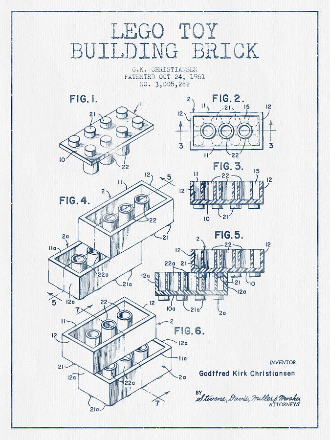 Lego Toy Building Brick Patent Blue Ink Drawing By Aged