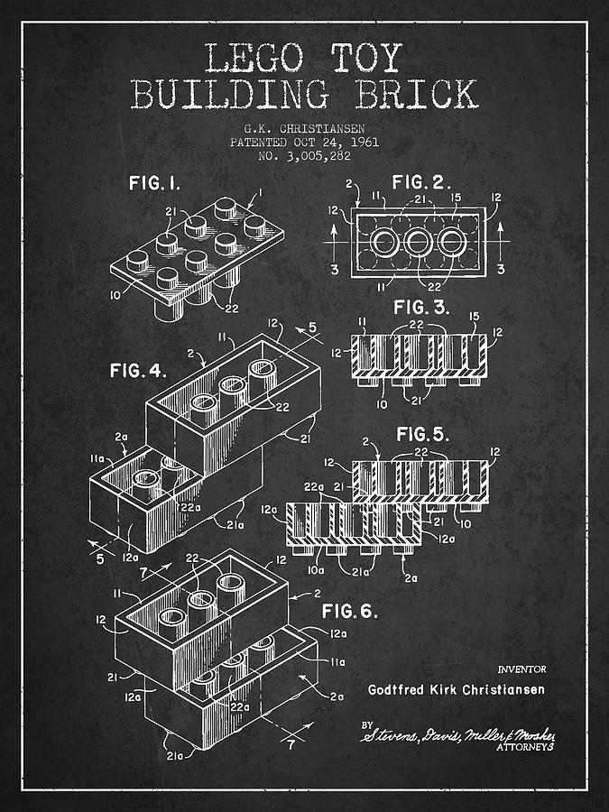 Lego Toy Building Brick Patent - Dark Drawing