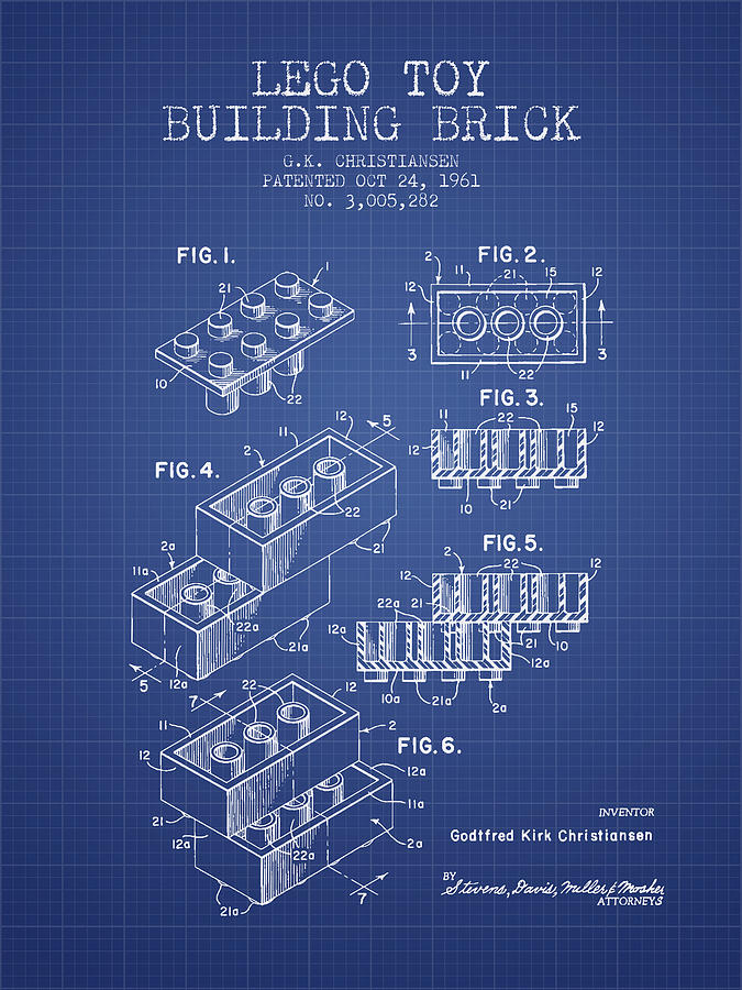 Lego Toy Building Brick Patent From 1961 Blueprint