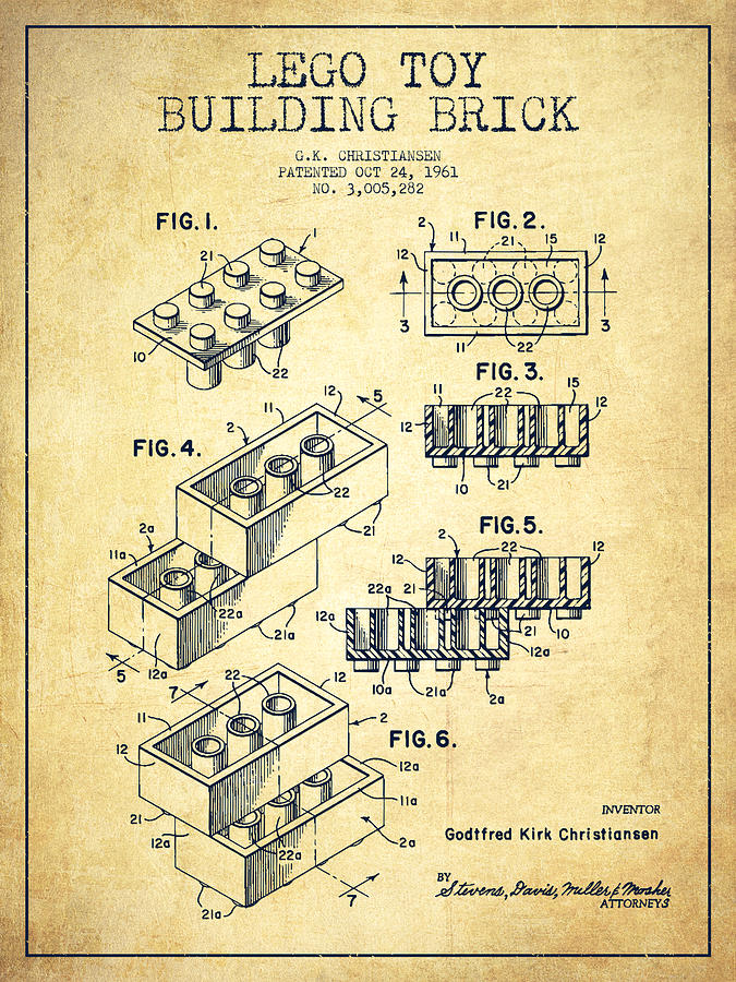 Lego Toy Building Brick Patent - Vintage Drawing