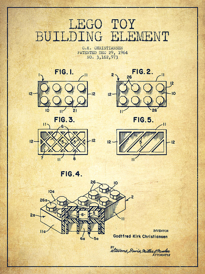 Lego Drawing - Lego Toy Building Element Patent - Vintage by Aged Pixel