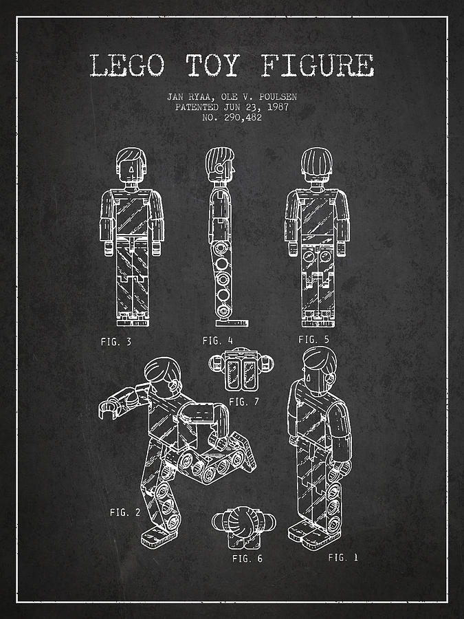 Lego Drawing - Lego Toy Figure Patent - Dark by Aged Pixel