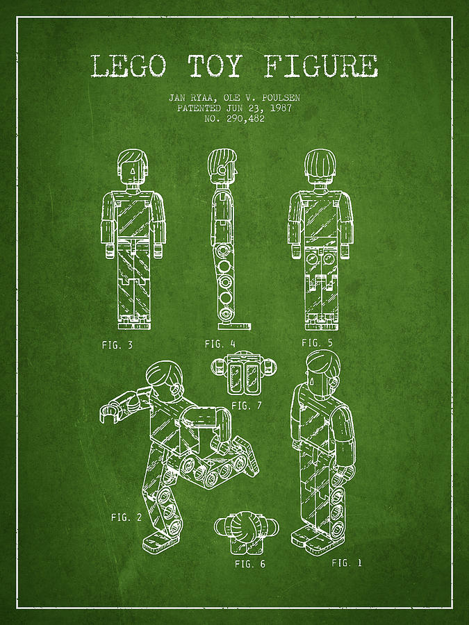 Lego Drawing - Lego Toy Figure Patent - Green by Aged Pixel