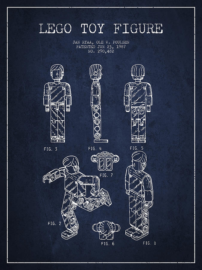 Lego Drawing - Lego Toy Figure Patent - Navy Blue by Aged Pixel
