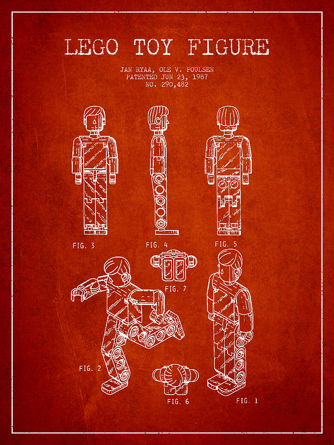 Lego Drawing - Lego Toy Figure Patent - Red by Aged Pixel