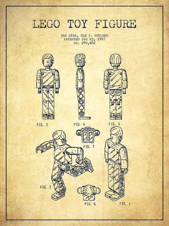 Lego Toy Figure Patent - Vintage Drawing