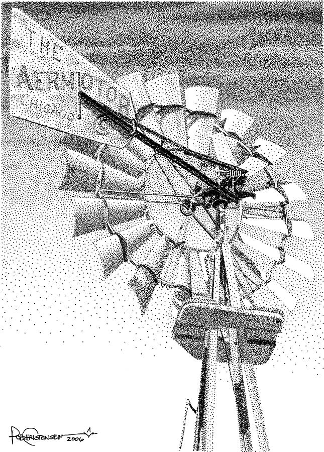 Lehman Windmill Drawing by Rob Christensen