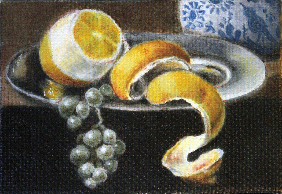 Lemon And Grapes Painting  - Lemon And Grapes Fine Art Print