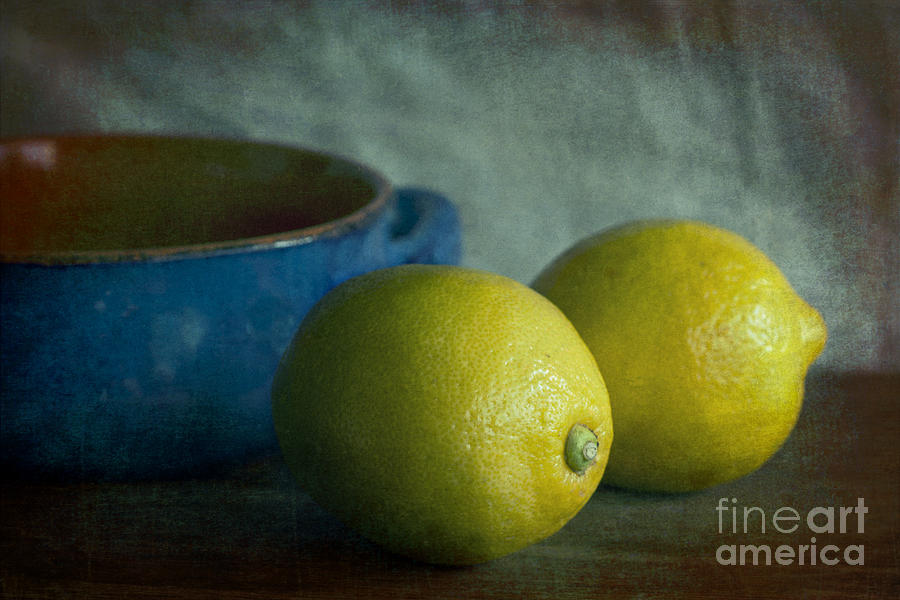 Lemons And Blue Terracotta Pot Photograph  - Lemons And Blue Terracotta Pot Fine Art Print