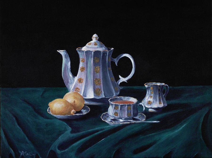 Lemons And Tea Painting