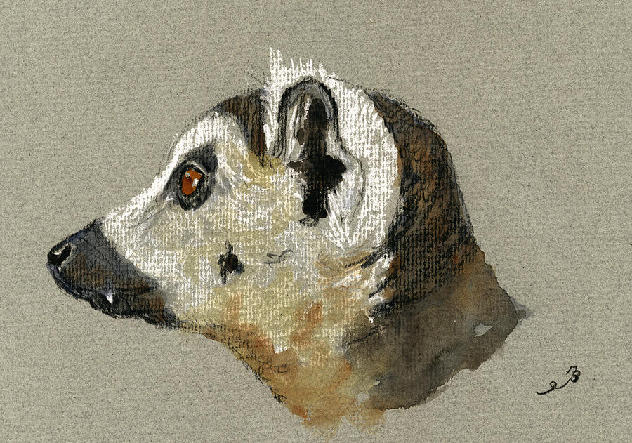 Lemur Head Study Painting