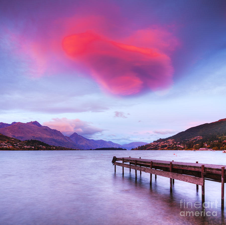 Awe Photograph - Lenticular Cloud Lake Wakatipu Queenstown New Zealand by Colin and Linda McKie