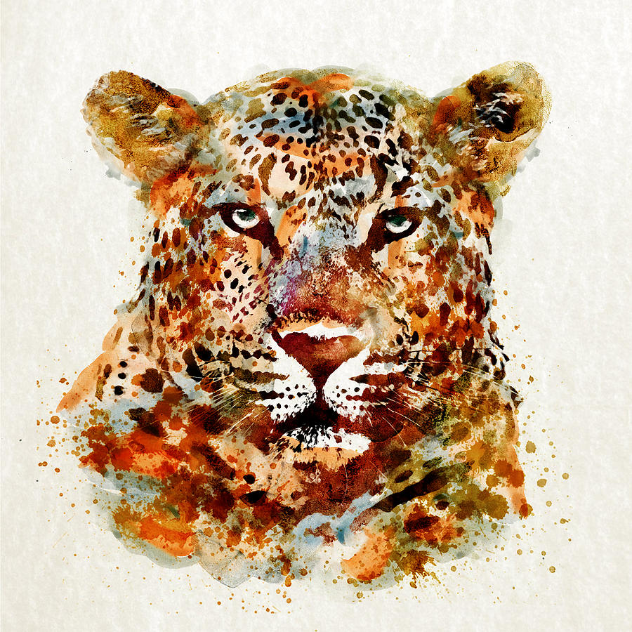 Leopard Head Watercolor Digital Art By Marian Voicu