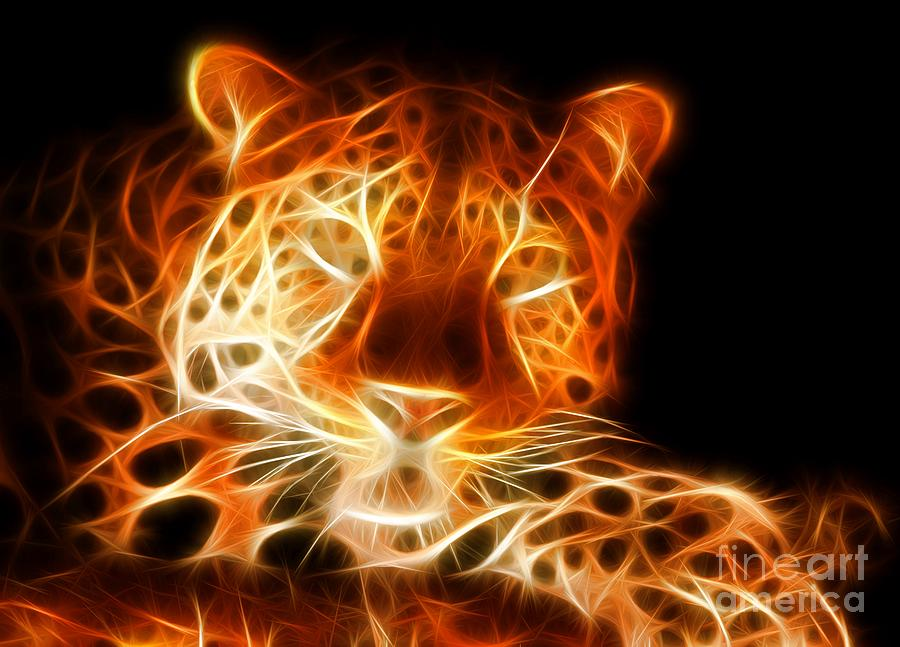 Leopard Intimidating Look Mixed Media