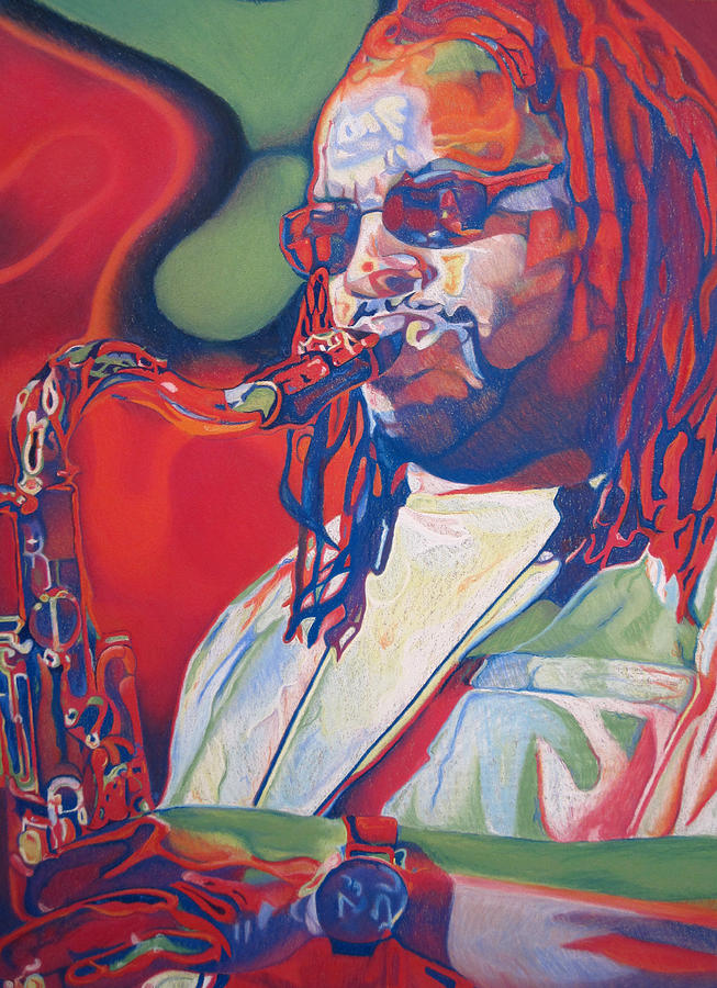 Leroi Moore Colorful Full Band Series Drawing  - Leroi Moore Colorful Full Band Series Fine Art Print