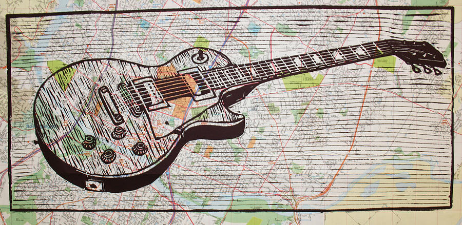 Les Paul On Austin Map Drawing