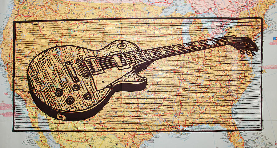 Les Paul On Usa Map Drawing