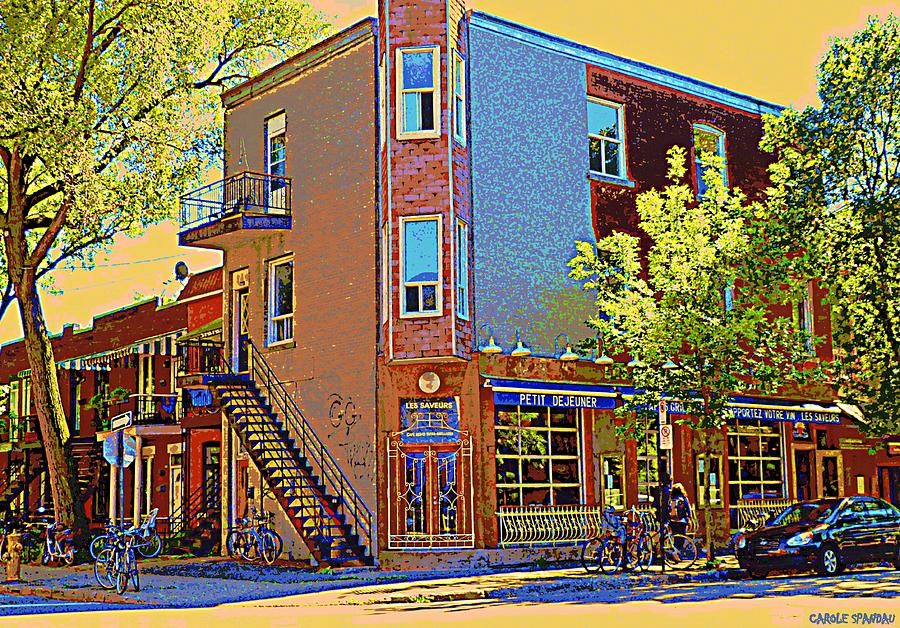 Les Saveurs Cafe Resto Grillades Tapas Petit Dejeuner Montreal French Cafe City Scene Carole Spandau Painting