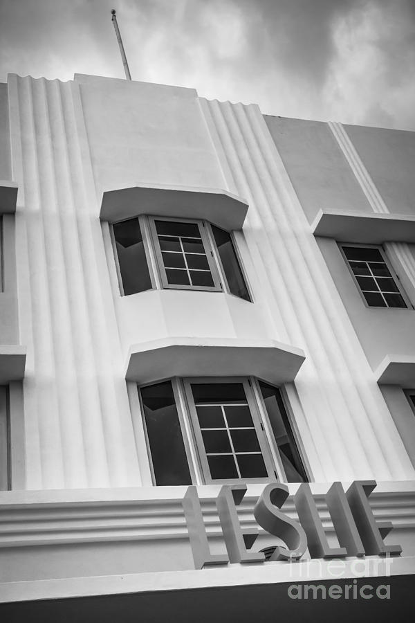 Leslie Hotel South Beach Miami Art Deco Detail 2 - Black And White Photograph