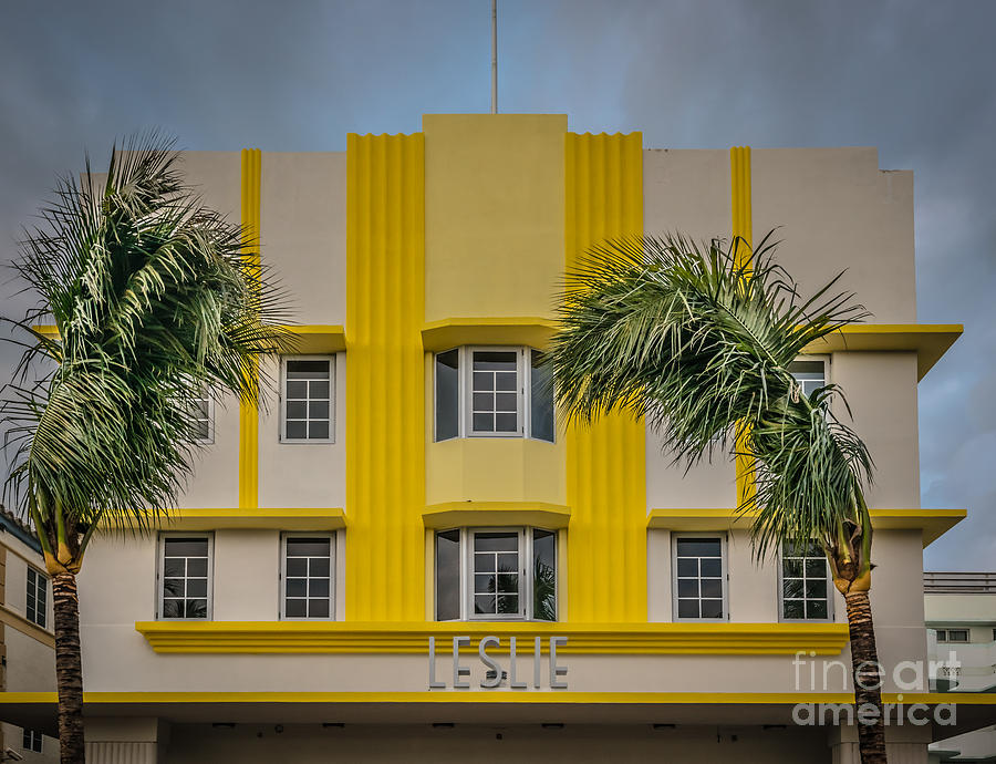 Leslie Hotel South Beach Miami Art Deco Detail 3 - Hdr Style Photograph