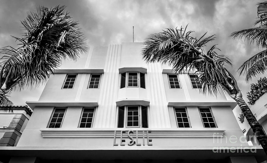 Leslie Hotel South Beach Miami Art Deco Detail - Black And White Photograph