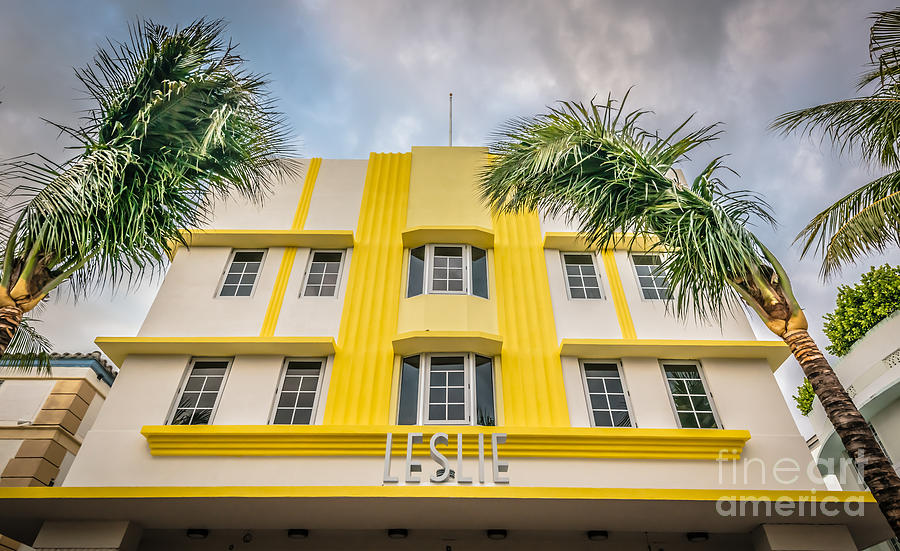1920s Photograph - Leslie Hotel South Beach Miami Art Deco Detail - Hdr Style by Ian Monk