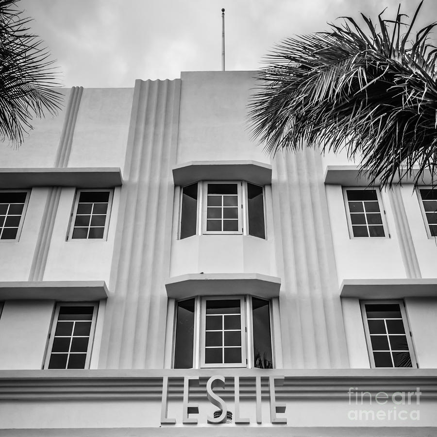 Leslie Hotel South Beach Miami Art Deco Detail - Square - Black And White Photograph