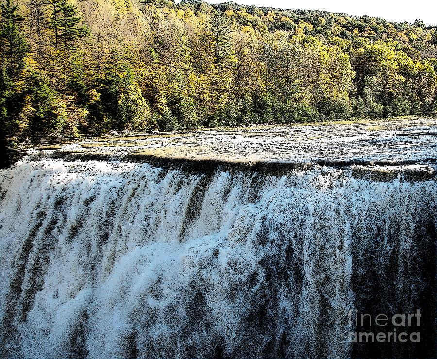 Letchworth State Park Middle Falls In Autumn Photograph
