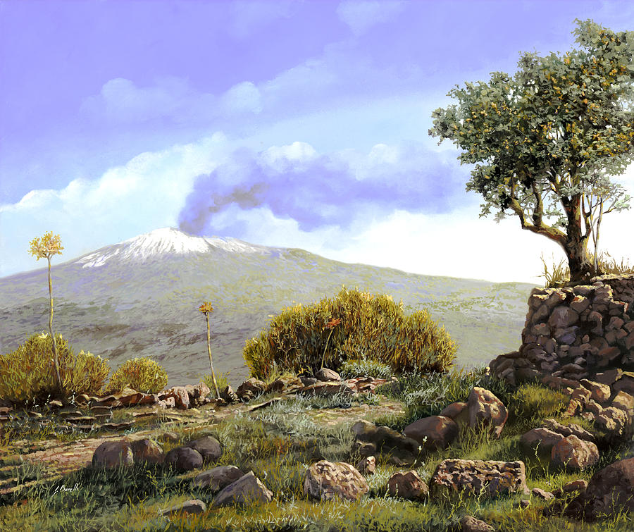Volcano Painting - lEtna  by Guido Borelli
