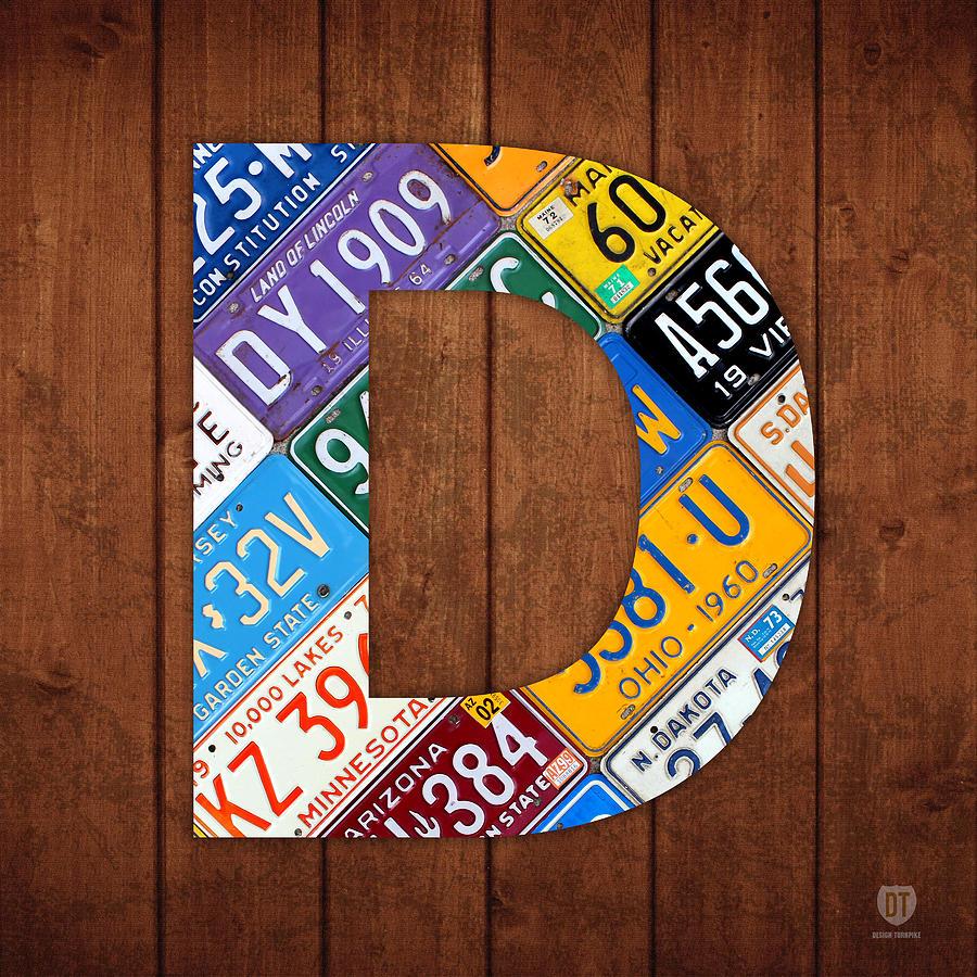 Letter Art Design : Letter d alphabet vintage license plate art mixed media by