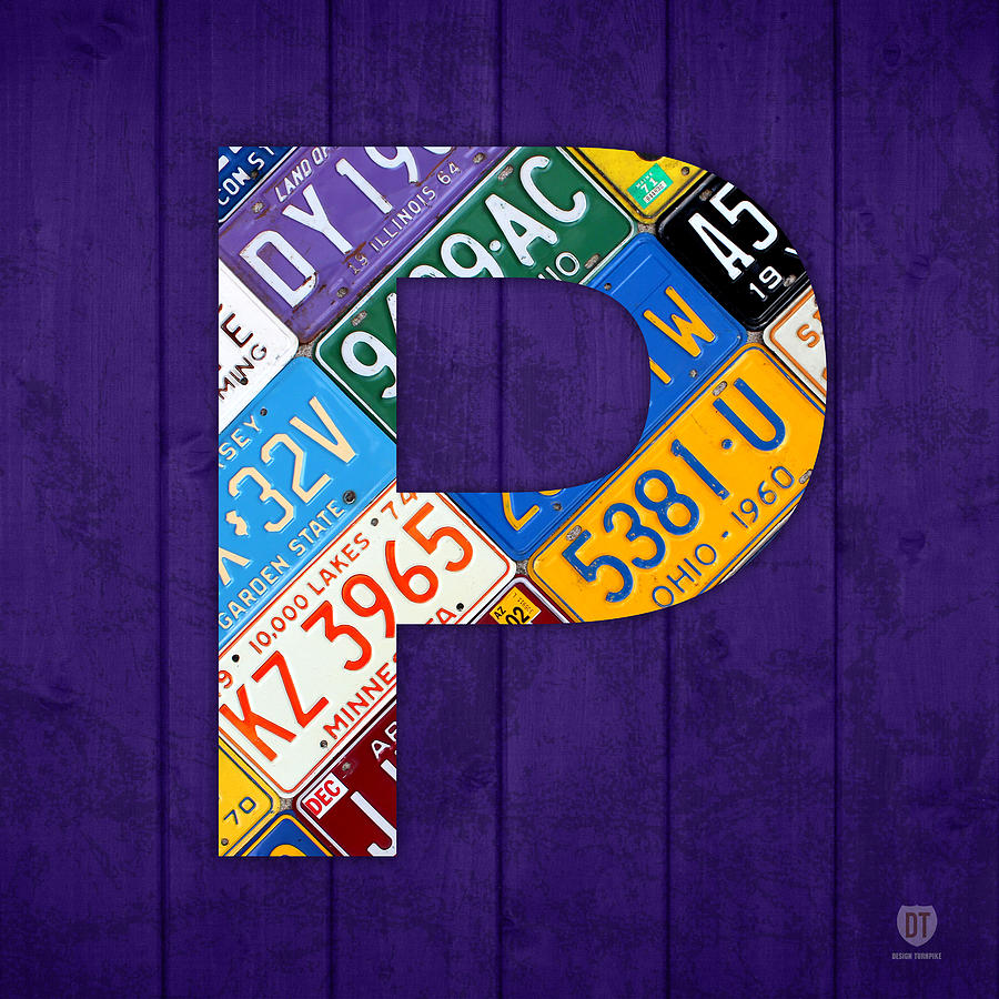 Letter P Alphabet Vintage License Plate Art Mixed Media by Design ...