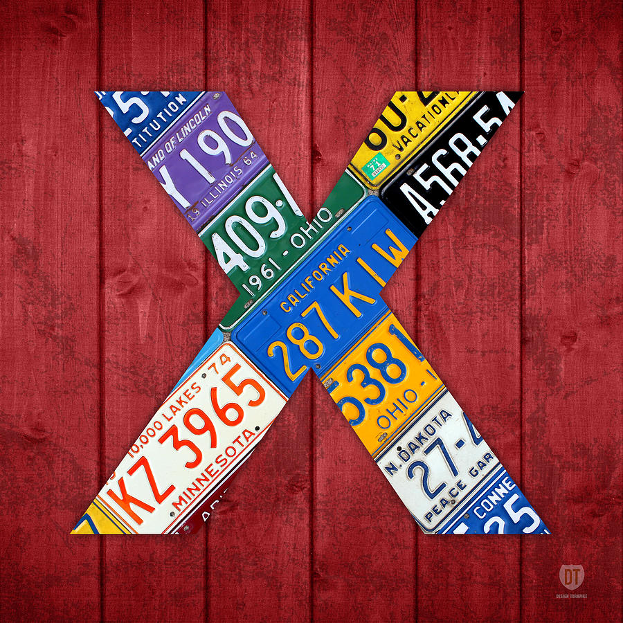 Letter X Alphabet Vintage License Plate Art Mixed Media
