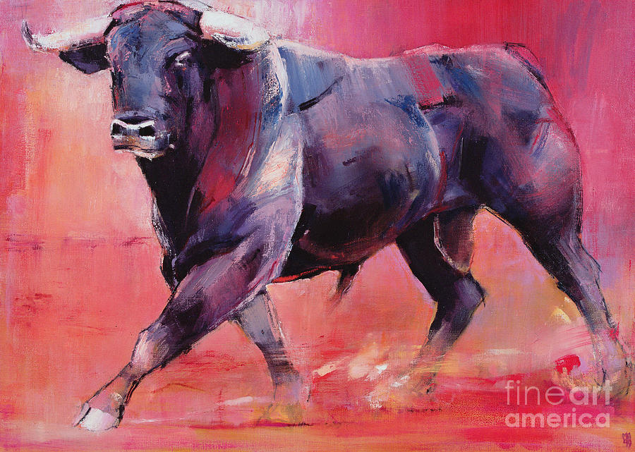 Bull Painting - Levantado by Mark Adlington