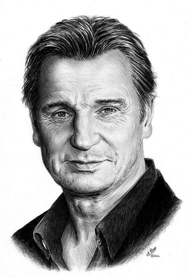 Liam Neeson Drawing By Andrew Read