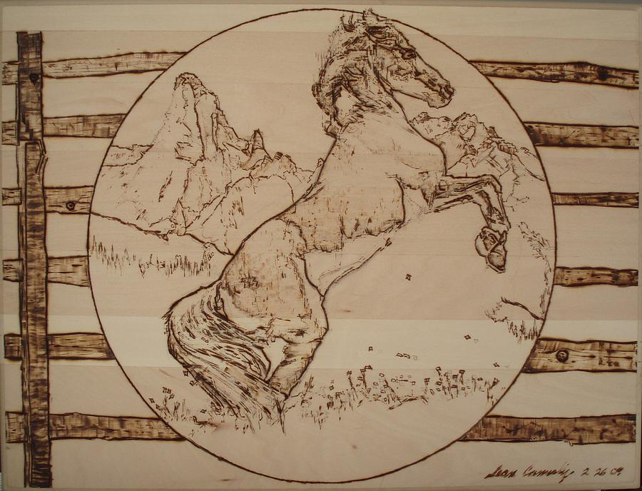 Liberated Horse Pyrography  - Liberated Horse Fine Art Print