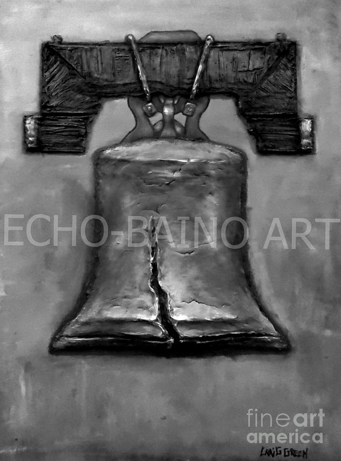 Liberty Bell - Gray With Logo Mixed Media