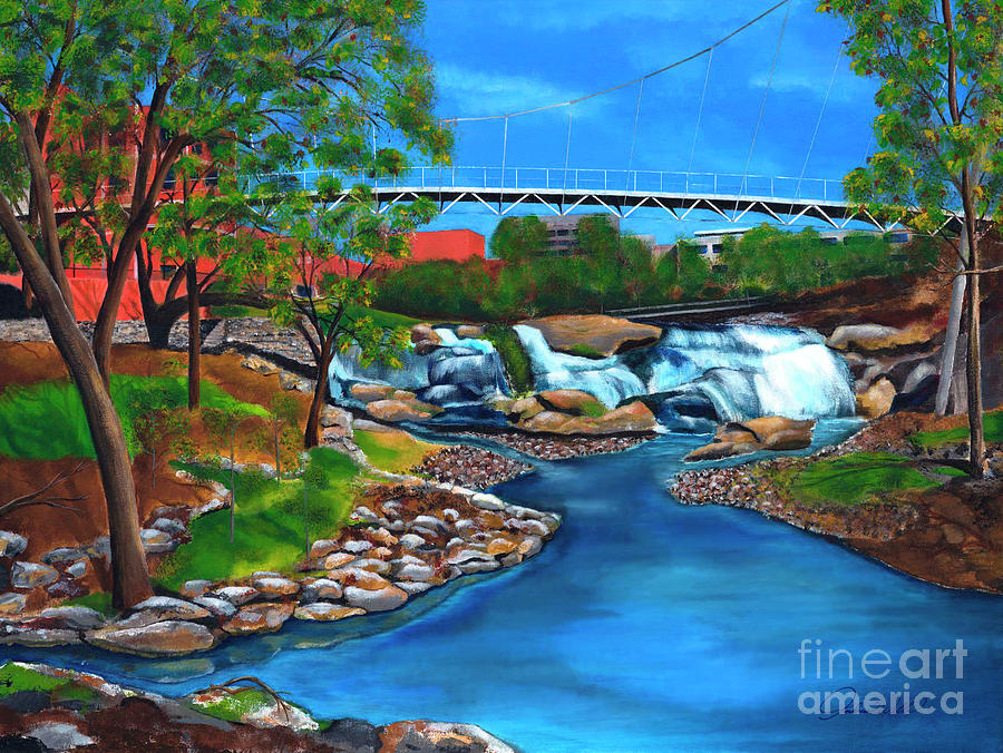 Liberty Bridge At Falls Park Painting