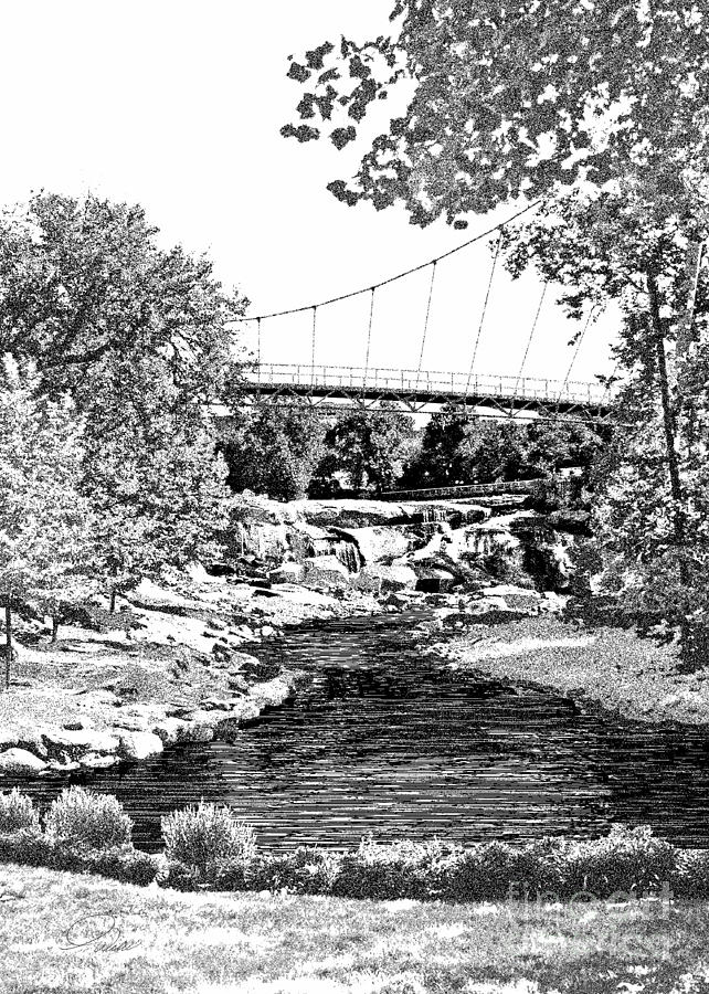 Liberty Bridge At Falls Park - Architectural Rendering Detail Mixed Media  - Liberty Bridge At Falls Park - Architectural Rendering Detail Fine Art Print