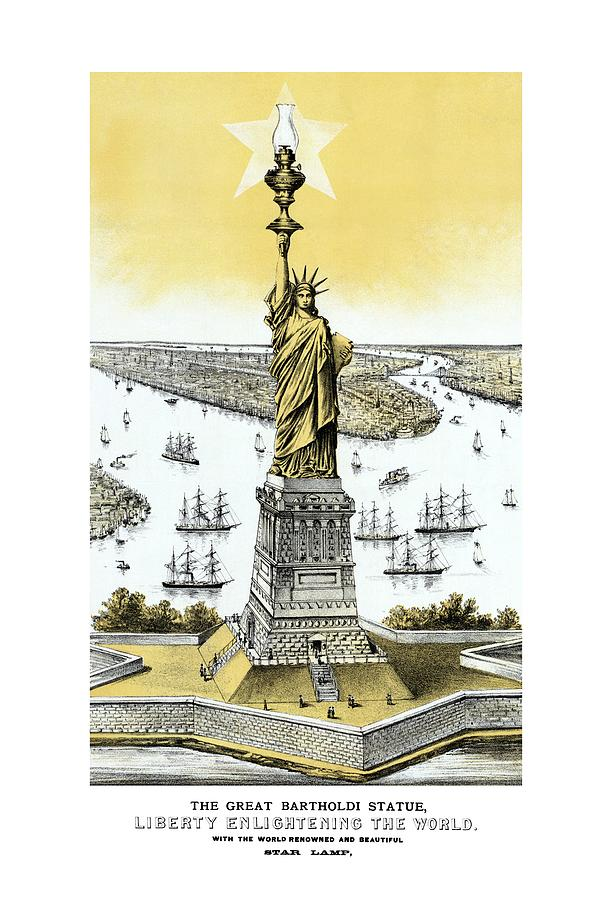 Liberty Enlightening The World  Drawing  - Liberty Enlightening The World  Fine Art Print