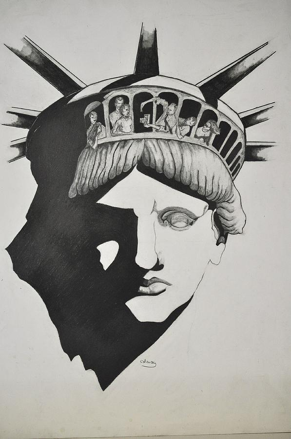 Liberty Head With People Drawing  - Liberty Head With People Fine Art Print